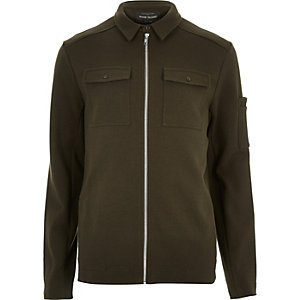 Khaki green shirt jacket