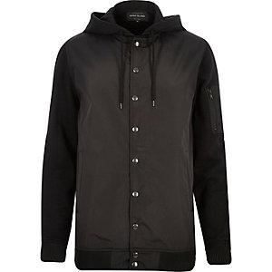 Black hoodie bomber jacket