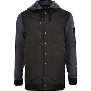 Dark grey hoodie bomber jacket