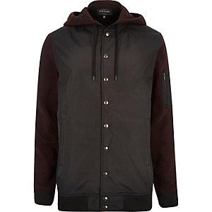 Dark red hoodie bomber jacket