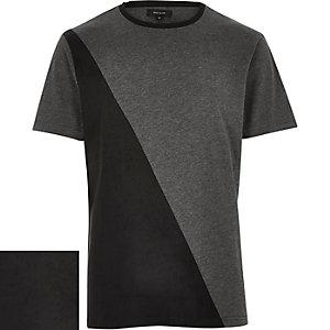 Grey textured panel t-shirt