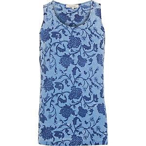 Blue vintage floral print vest