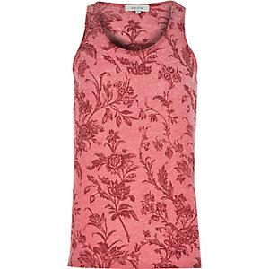Red vintage floral print vest