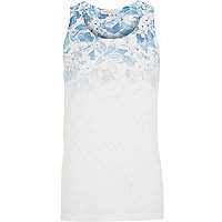 Blue faded floral print vest