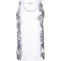White side floral print vest