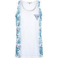 White blue side floral print vest
