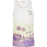 White faded Miami print vest
