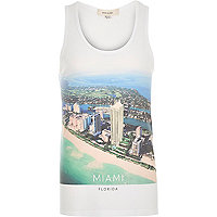 White Miami Florida print vest