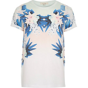 White reflected floral print t-shirt