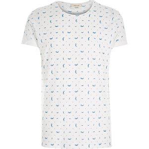 White micro paisley print t-shirt