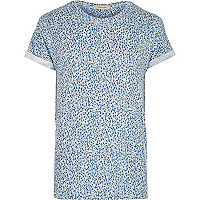 Blue cubed geometric print t-shirt