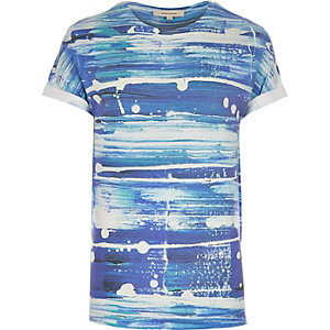 Blue paint brush print t-shirt
