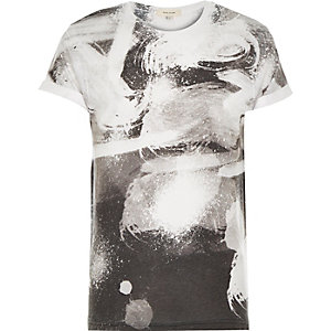 White swirl print short sleeve t-shirt
