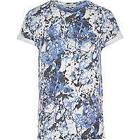 Blue paint splatter print t-shirt