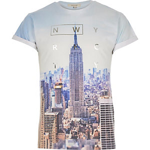 Blue New York City print t-shirt