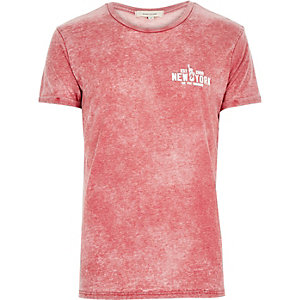 Red acid wash New York print t-shirt