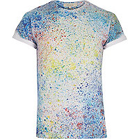 Blue paint splatter t-shirt