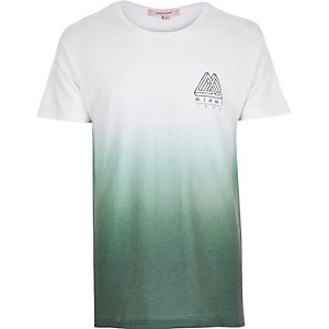 Green faded Miami print t-shirt