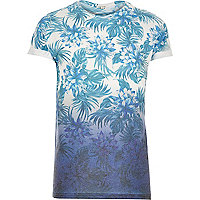 Blue faded floral print t-shirt