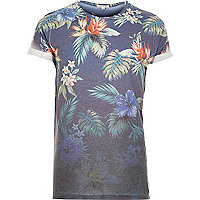Navy faded tropical print t-shirt