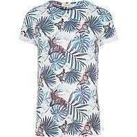 White palm tree leaf print t-shirt