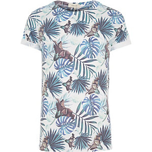 White palm tree leaf print t-shirt