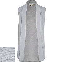 Grey open sleeveless cardigan