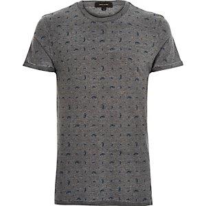 Grey paisley print burnout t-shirt