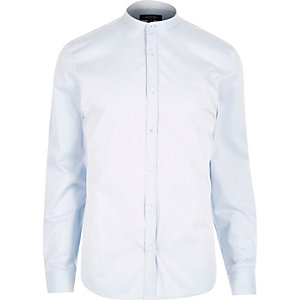Light blue long sleeve grandad collar shirt