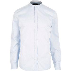 Grey long sleeve grandad collar shirt