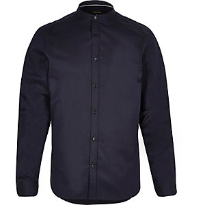 Navy long sleeve grandad shirt