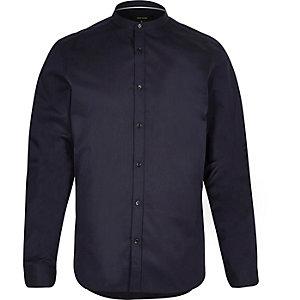 Navy long sleeve grandad shirt