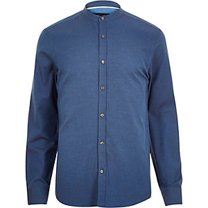 Blue long sleeve grandad shirt