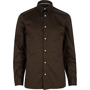 Chocolate brown long sleeve shirt
