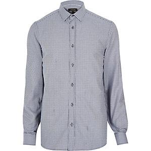 Navy check long sleeve shirt