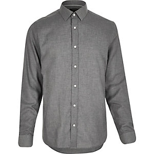 Grey smart flannel long sleeve shirt