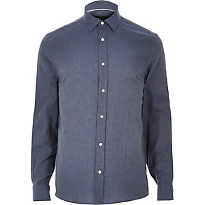Navy smart flannel long sleeve shirt