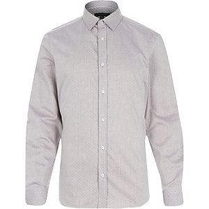 Dark beige spot print formal shirt
