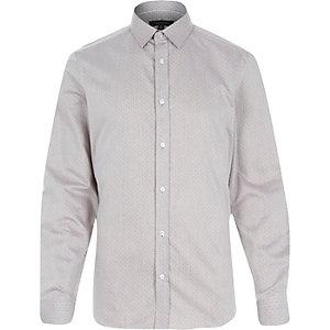 Dark beige spot print formal shirt