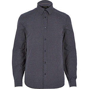 Navy blue arrow print shirt