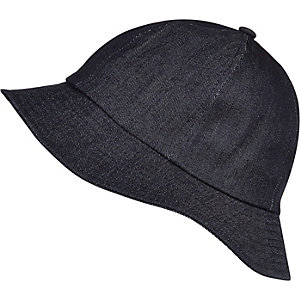 Navy blue dark denim bucket hat