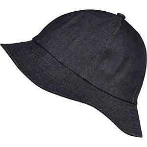 Navy blue dark denim bucket hat