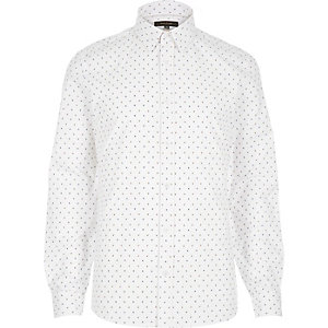 White micro print long sleeve shirt