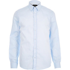Blue subtle stripe long sleeve shirt