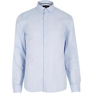Blue fine stripe long sleeve shirt