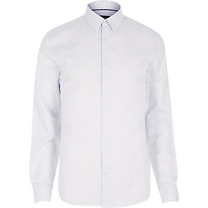 White fine stripe long sleeve shirt