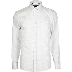 Grey grid print shirt