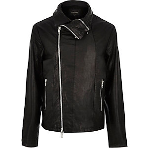 Black leather funnel biker jacket