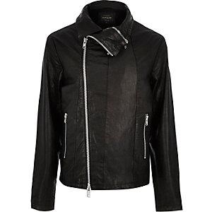 Black leather funnel biker jacket