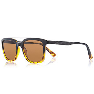 Brown over bar textured retro sunglasses